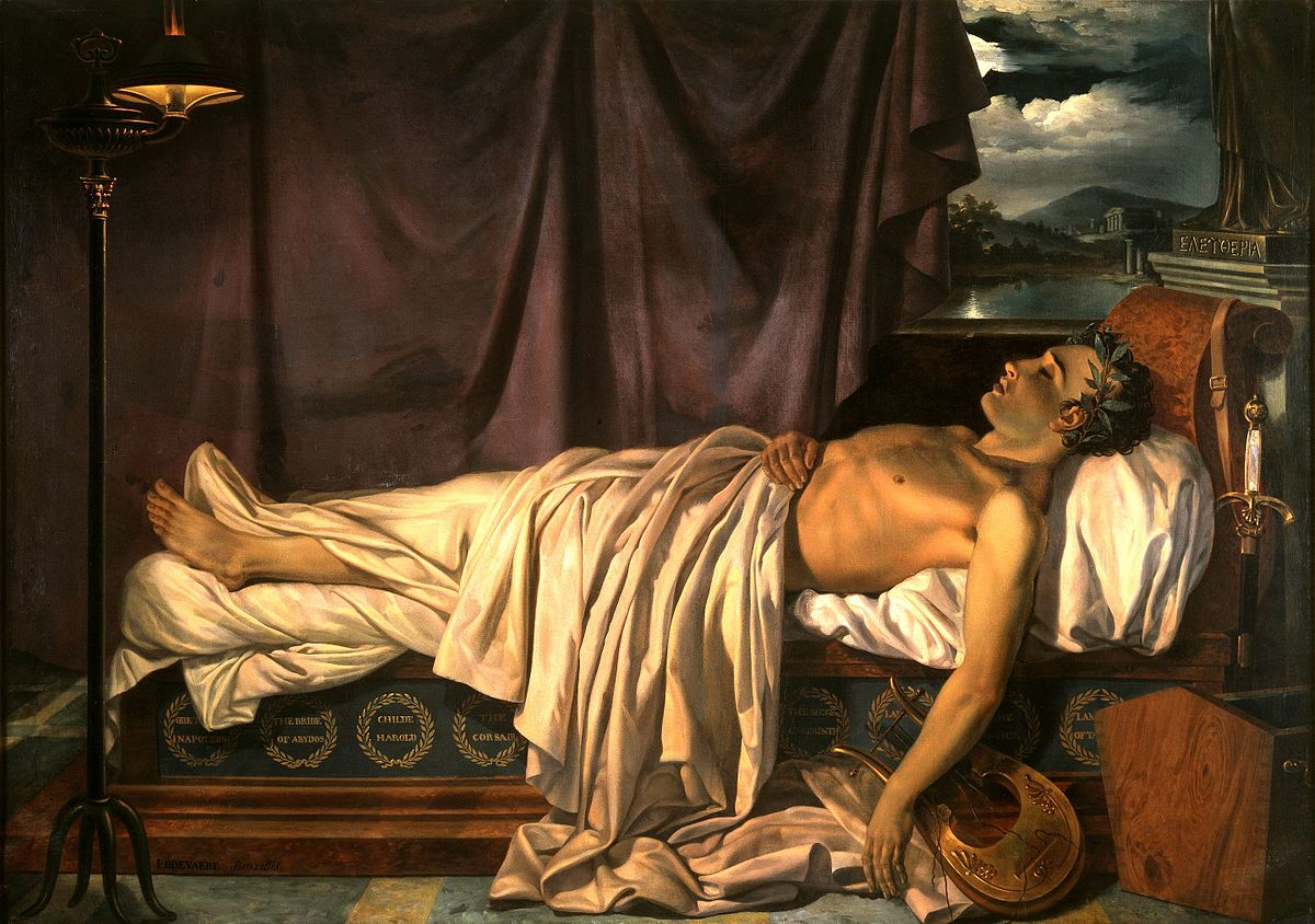 """Lord Byron on his Death-bed"" by Joseph Denis Odevaere"